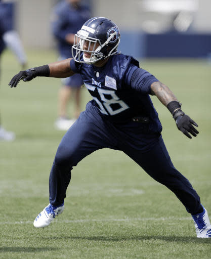Tennessee Titans linebacker Harold Landry (58) runs a drill during NFL football rookie minicamp Saturday, May 12, 2018, in Nashville, Tenn. (AP Photo/Mark Humphrey)