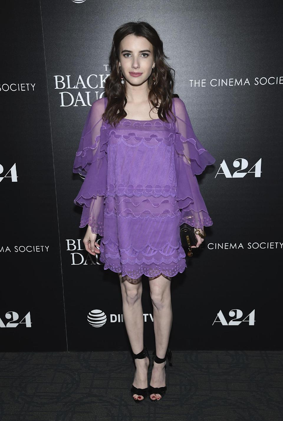 <p>Emma's lilac Chloe dress is perfect for the transition into spring.<br><i>[Photo: AP]</i> </p>