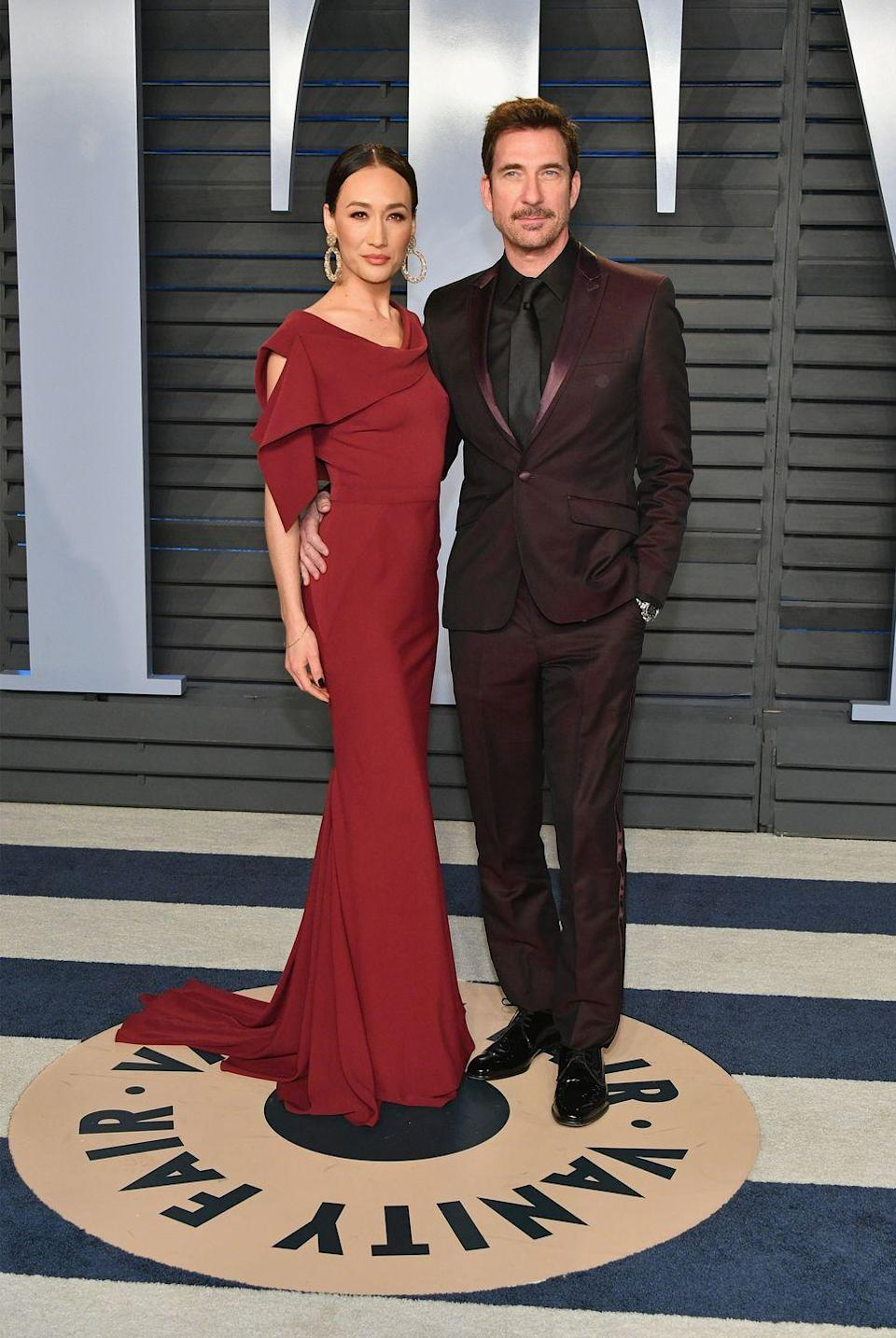"""<p>The <em>Stalker </em>co-stars met on the set of their CBS crime drama in 2014 and McDermott <a href=""""https://people.com/tv/dylan-mcdermott-maggie-q-split/"""" rel=""""nofollow noopener"""" target=""""_blank"""" data-ylk=""""slk:reportedly"""" class=""""link rapid-noclick-resp"""">reportedly</a> proposed seven weeks later. They split four years later, <em>People </em>reporting on their breakup in February 2019.</p>"""