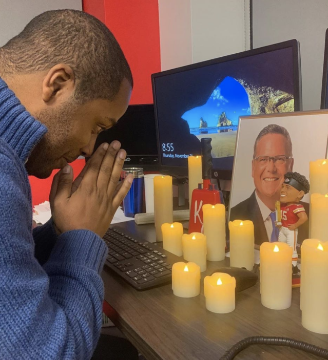 A co-worker at Fox 4 news station in Kansas City jokes about the #PrayersforNick hashtag. (Photo: Instagram)