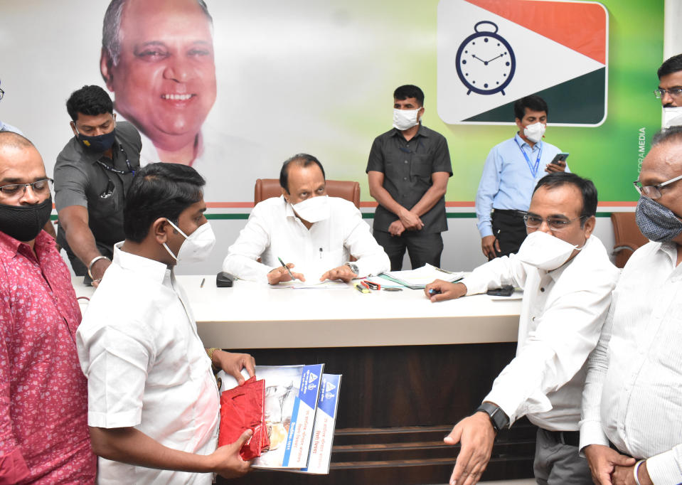 MUMBAI, INDIA - FEBRUARY 4: Ajit Pawar, Deputy Chief Minister of Maharashtra during the Janta Darbar at NCP office, Ballard Estate, on February 4, 2021 in Mumbai, India. (Photo by Anshuman Poyrekar/Hindustan Times via Getty Images)