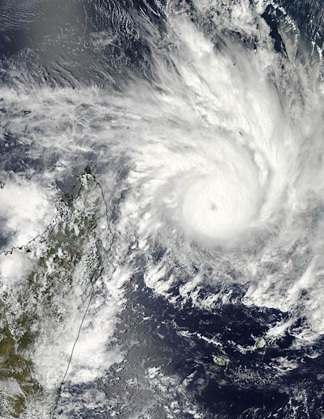 On Jan. 29, 2013, NASA's Aqua satellite captured an image of Cyclone Felleng at 5:14 a.m. EST that showed strong thunderstorms around the center of circulation and a 22 nautical mile-wide eye obscured by high clouds. The western edge of the sto