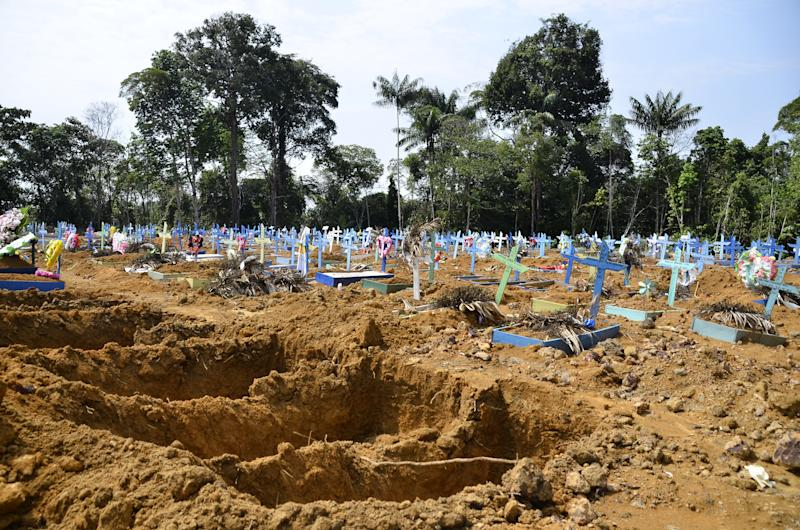 Pictured is Brazil's Taruman Park Cemetery, which is used to bury Covid victims.