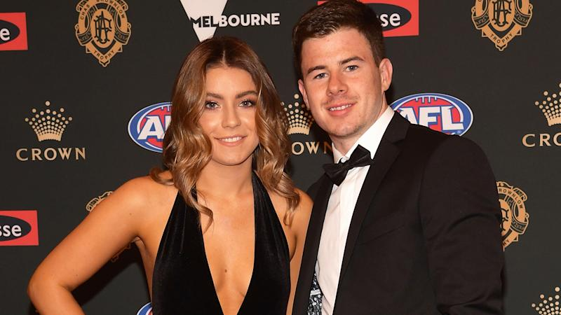 Jack Higgins of the Tigers and his partner Tenisha Crook arrive ahead of the 2018 Brownlow Medal at Crown Entertainment Complex on September 24, 2018 in Melbourne, Australia. (Photo by Quinn Rooney/Getty Images)