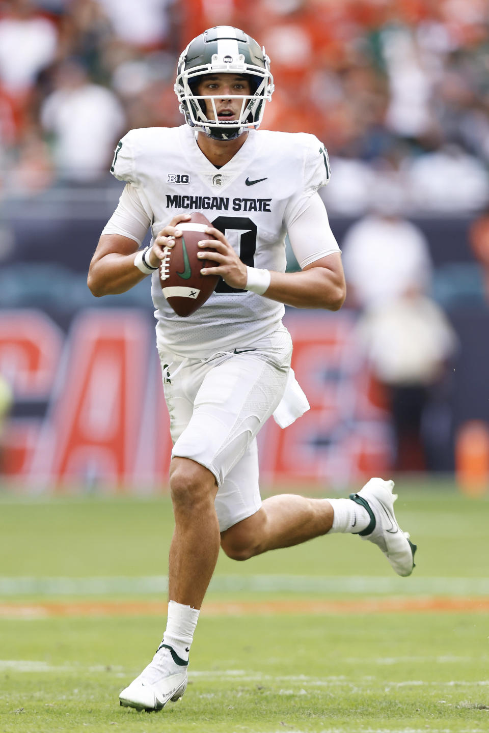 Michigan State quarterback Payton Thorne (10) looks to pass during the first quarter of an NCAA college football game against the Miami, Saturday, Sept. 18, 2021, in Miami Gardens, Fla. (AP Photo/Michael Reaves)