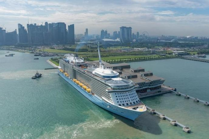 Ovation of the Seas docked in its home port in Singapore (Royal Caribbean International)