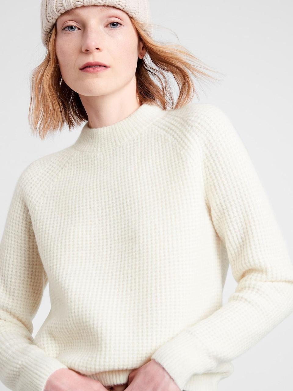 <p>This <span>Banana Republic Aire Waffle-Knit Sweater</span> ($78, originally $99) is the exact version I own, and it's currently my favorite winter staple. It looks great with jeans as well as a skirt and tights. I even recently wore it with knit joggers.</p>