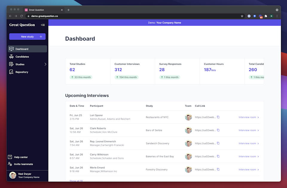 Great Question's user dashboard