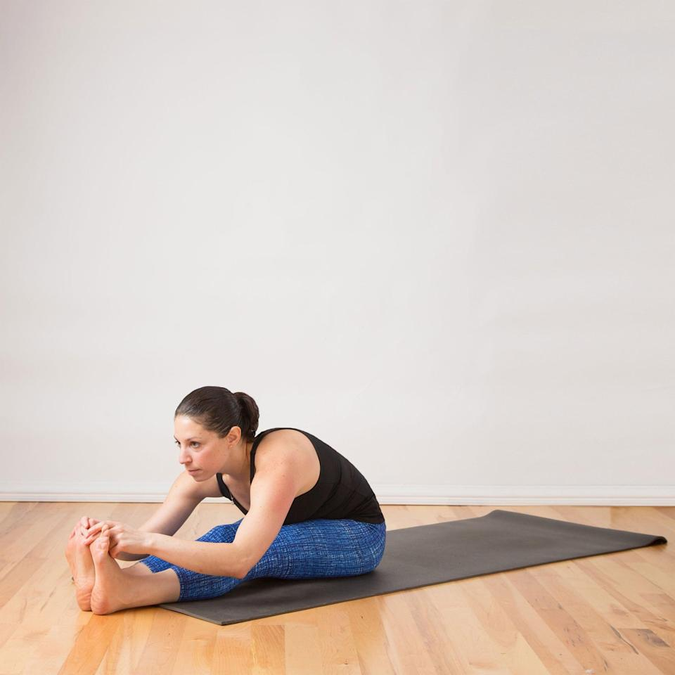 <ul> <li>Sit on the floor with your legs straight in front of you. Make your spine as long as you can.</li> <li>Slowly hinge at your hips, lowering your torso toward your thighs. Maintain a straight back and fold as far as you need to feel a nice stretch in your back and hamstrings. Don't worry about folding your body completely in half unless this is comfortable for you.</li> <li>Stay like this for five deep breaths.</li> </ul>