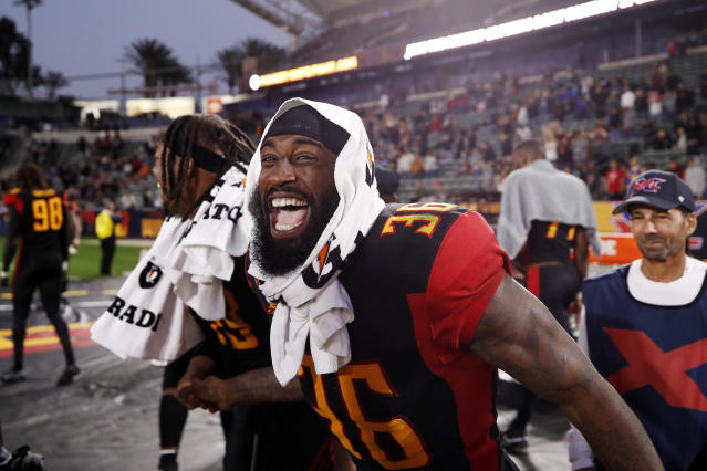 Ahmad Dixon of the L.A. Wildcats smiles after an XFL game against the DC Defenders. (Photo by Ric Tapia/XFL via Getty Images)