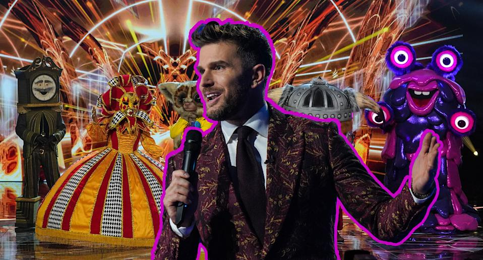 A composite image of The Masked Singer host Joel Dommett in front of this year's performers. (ITV)