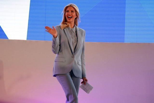 Ivanka Trump wears a baby blue Escada pantsuit. (Photo: AP Photo/Evan Vucci)