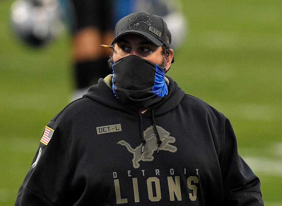 Lions coach Matt Patricia reacts after the Lions' 20-0 loss to the Panthers on Sunday, Nov. 22, 2020, in Charlotte, North Carolina.