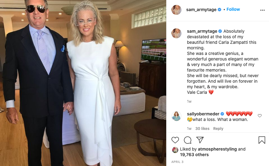 Sam Armytage paid tribute to late design Carla Zampatti on Instagram. Photo: Instagram/sam_armytage.