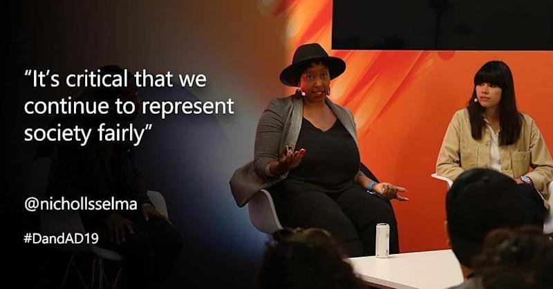 Selma speaking being on the panel at D&AD Festival, 2019 (Photo: Surface UK & Microsoft)