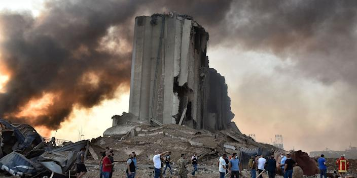 A destroyed silo at the scene of an explosion at the port in the Lebanese capital, Beirut, on Tuesday.