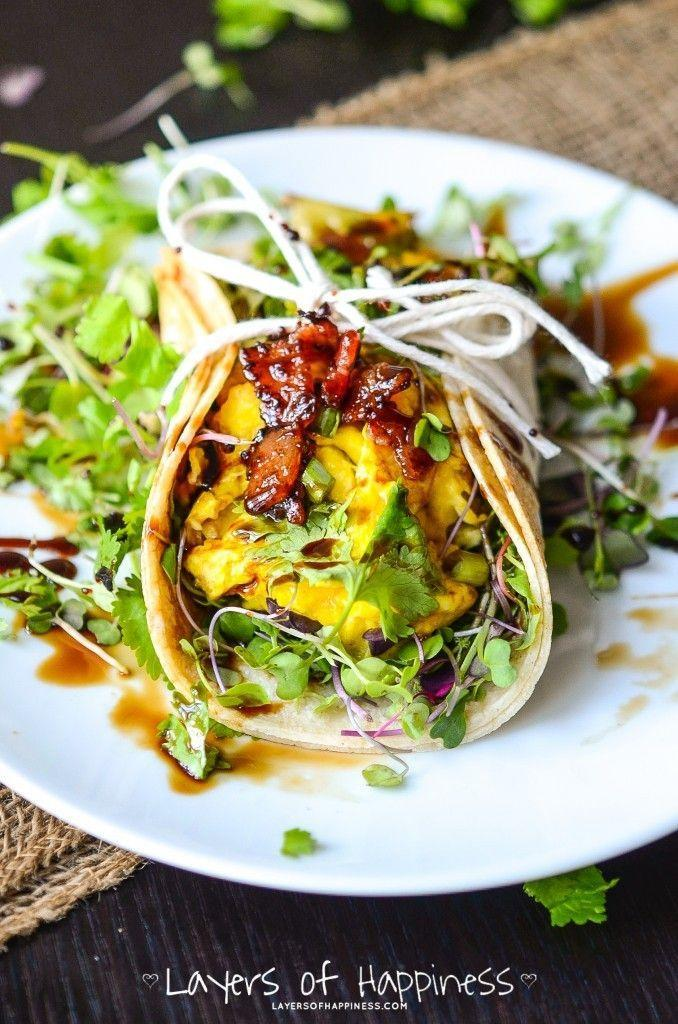 """<p>These tacos had us with the cheesy scrambled eggs and maple-glazed bacon, but don't worry — there are also a ton of greens and herbs, because balance. </p><p><a href=""""http://www.layersofhappiness.com/farmers-market-breakfast-tacos/"""" rel=""""nofollow noopener"""" target=""""_blank"""" data-ylk=""""slk:Get the recipe from Layers of Happiness »"""" class=""""link rapid-noclick-resp""""><em>Get the recipe from Layers of Happiness »</em></a><br></p>"""