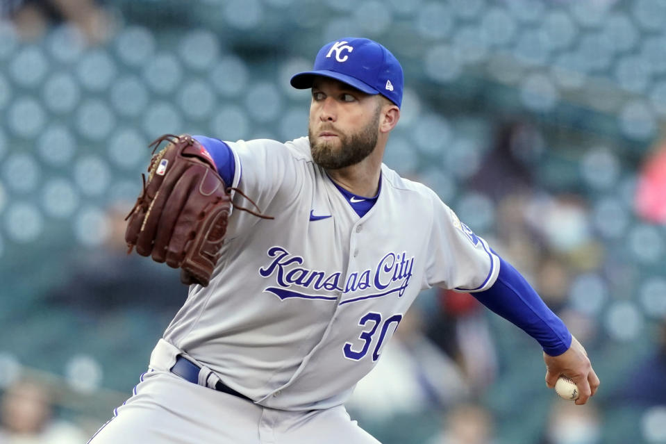 Kansas City Royals starting pitcher Danny Duffy throws during the second inning of a baseball game against the Detroit Tigers, Wednesday, May 12, 2021, in Detroit. (AP Photo/Carlos Osorio)