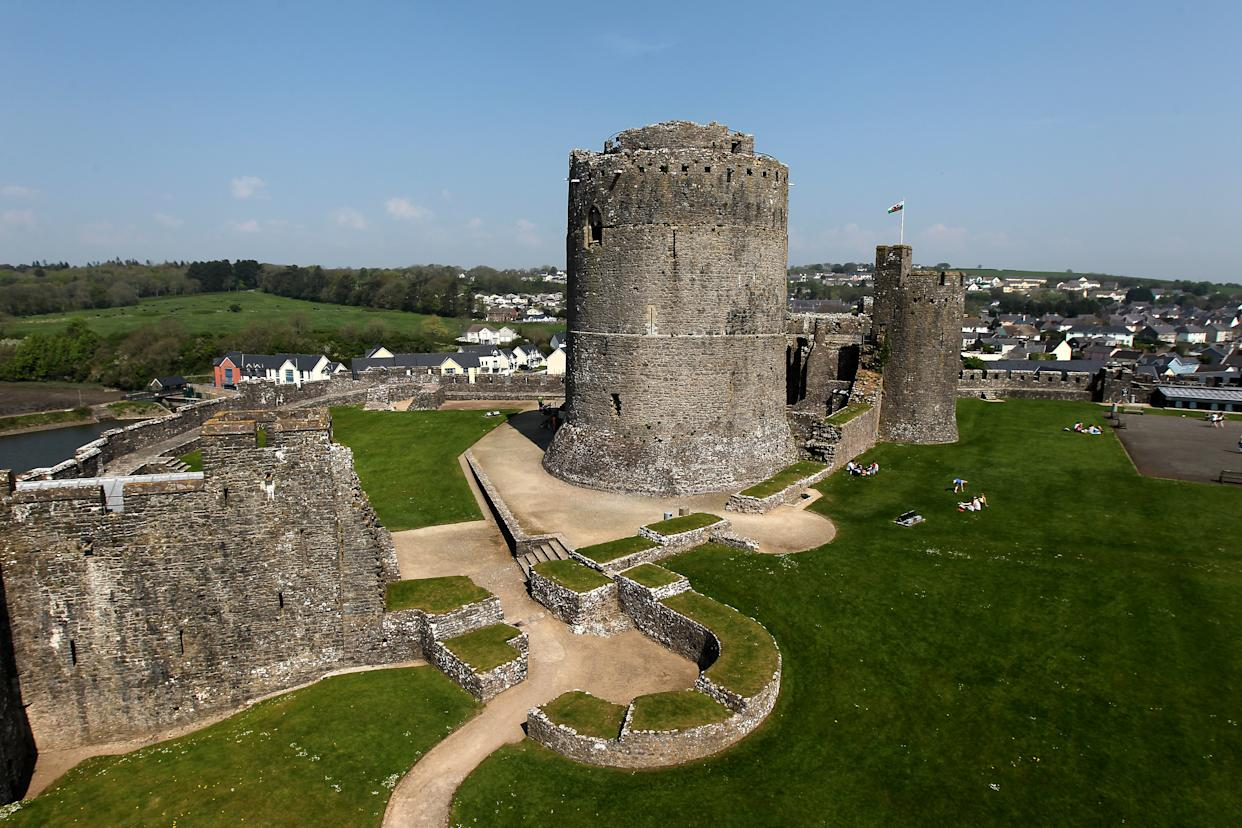 A general view of Pembroke Castle, a medieval castle in Pembroke, West Wales.