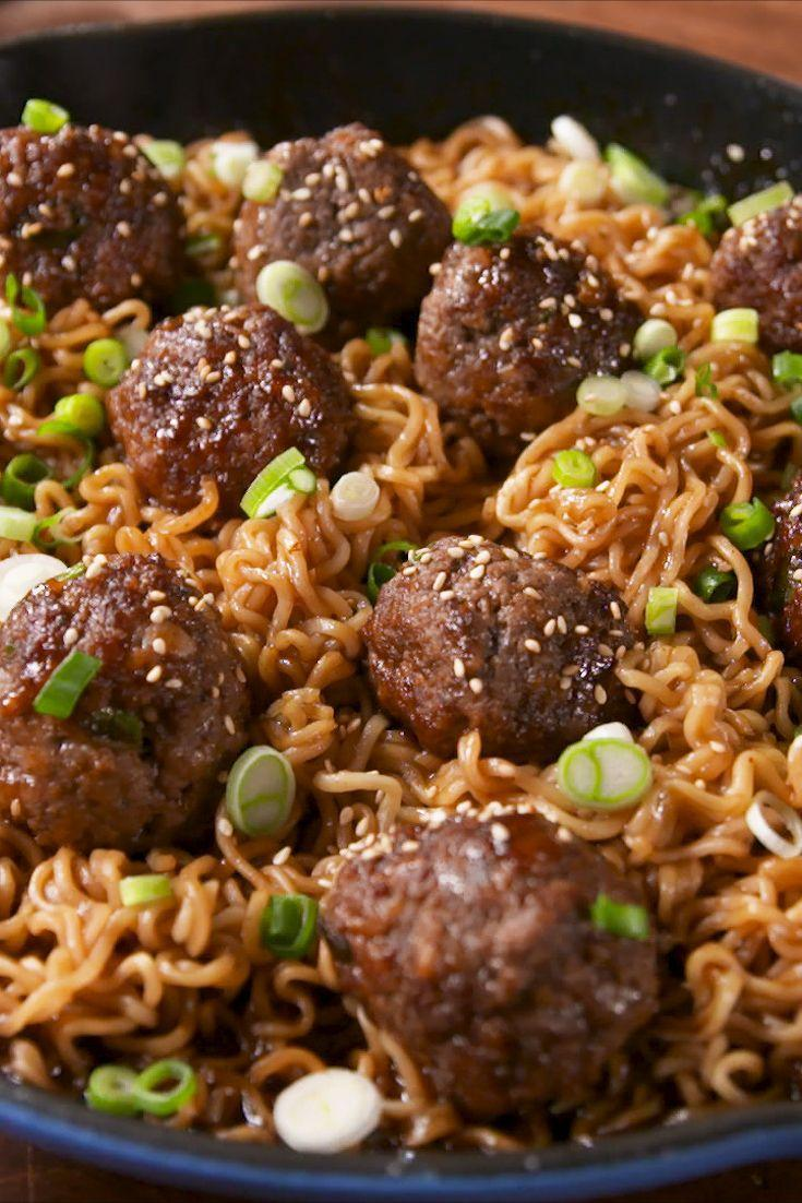 """<p>Turn that instant ramen into a real meal.</p><p>Get the recipe from <a href=""""https://www.delish.com/cooking/recipe-ideas/recipes/a57900/mongolian-meatball-ramen-recipe/"""" rel=""""nofollow noopener"""" target=""""_blank"""" data-ylk=""""slk:Delish"""" class=""""link rapid-noclick-resp"""">Delish</a>.</p><p><strong><em>BUY NOW: Le Creuset Skillet, $199.95, <a href=""""https://www.amazon.com/Creuset-Signature-Handle-Skillet-4-Inch/dp/B00B4UOTBQ/?tag=syn-yahoo-20&ascsubtag=%5Bartid%7C1782.g.3153%5Bsrc%7Cyahoo-us"""" rel=""""nofollow noopener"""" target=""""_blank"""" data-ylk=""""slk:amazon.com"""" class=""""link rapid-noclick-resp"""">amazon.com</a>.</em></strong></p>"""
