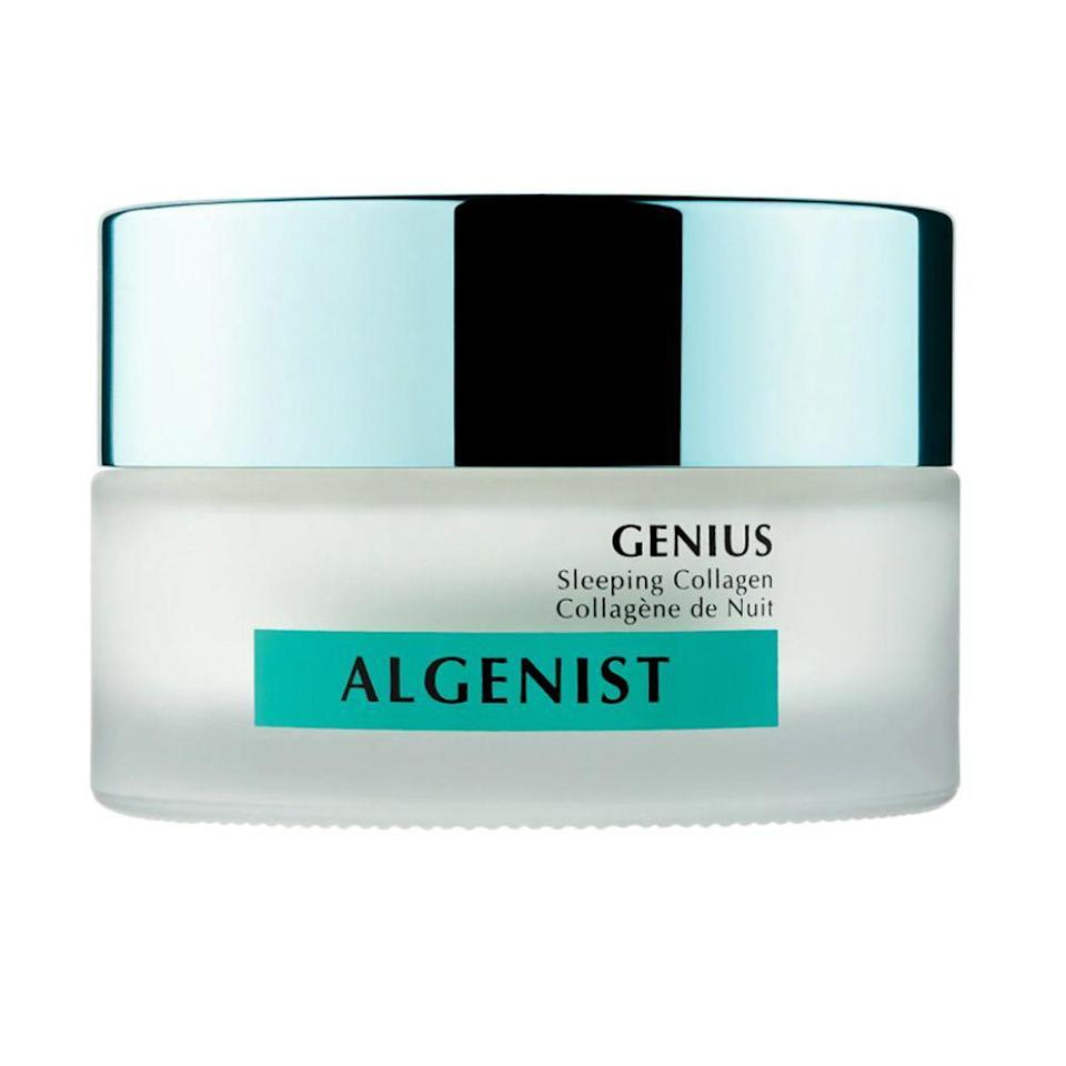 """<p><strong>Algenist</strong></p><p>amazon.com</p><p><strong>$98.00</strong></p><p><a href=""""https://www.amazon.com/Algenist-Genius-Sleeping-Collagen-milliliters/dp/B07TNDMZJN?tag=syn-yahoo-20&ascsubtag=%5Bartid%7C2089.g.341%5Bsrc%7Cyahoo-us"""" rel=""""nofollow noopener"""" target=""""_blank"""" data-ylk=""""slk:Shop Now"""" class=""""link rapid-noclick-resp"""">Shop Now</a></p><p>This buttery night cream offers up a heaping dose of collagen, helping your skin look plumper than before. It provides serious hydration thanks to its formula, which is made up of plant-based collagen, along with <a href=""""https://www.algenist.com/pages/technology"""" rel=""""nofollow noopener"""" target=""""_blank"""" data-ylk=""""slk:alguronic acid"""" class=""""link rapid-noclick-resp"""">alguronic acid</a> and ceramides.</p>"""