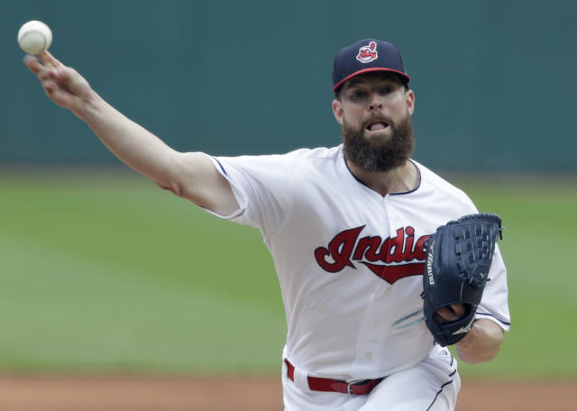 Cleveland Indians starting pitcher Corey Kluber delivers in the first inning of a baseball game against the Chicago White Sox, Wednesday, June 20, 2018, in Cleveland. (AP Photo/Tony Dejak)