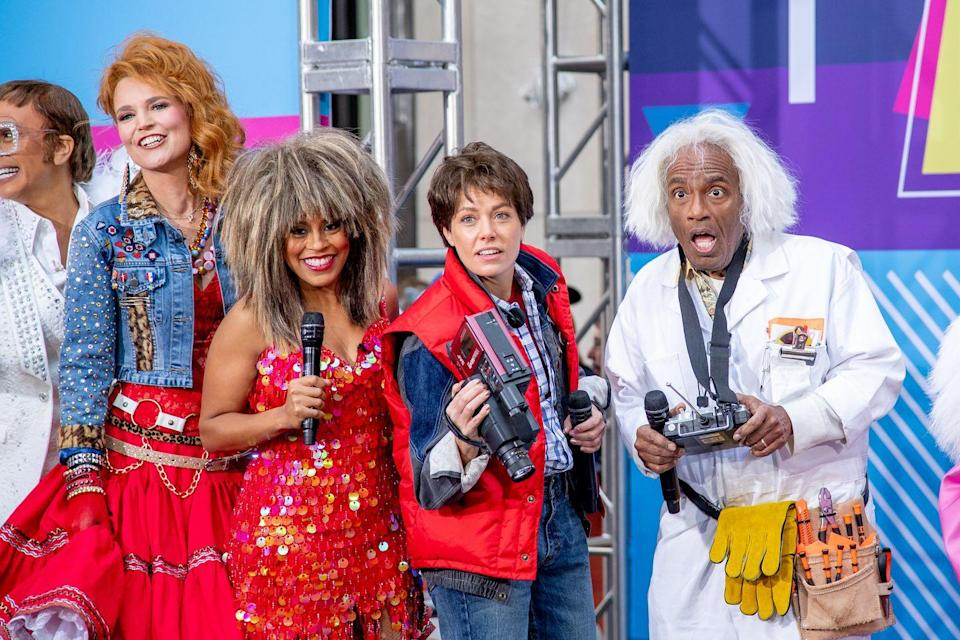 "<p>Al Roker and <a href=""https://www.goodhousekeeping.com/life/entertainment/a26990342/dylan-dreyer-husband-brian-fichera/"" rel=""nofollow noopener"" target=""_blank"" data-ylk=""slk:Dylan Dreyer"" class=""link rapid-noclick-resp"">Dylan Dreyer</a> opted to dress as Marty McFly (Michael J. Fox) and Dr. Emmett Brown (Christopher Lloyd) for <a href=""https://www.goodhousekeeping.com/holidays/halloween-ideas/g565/halloween-party-ideas/"" rel=""nofollow noopener"" target=""_blank"" data-ylk=""slk:the big Halloween bash"" class=""link rapid-noclick-resp"">the big Halloween bash</a>, as <a href=""https://www.goodhousekeeping.com/health/diet-nutrition/a27241563/plant-based-diet/"" rel=""nofollow noopener"" target=""_blank"" data-ylk=""slk:Sheinelle Jones"" class=""link rapid-noclick-resp"">Sheinelle Jones</a> dazzled as Tina Turner in a sequin red dress. </p>"