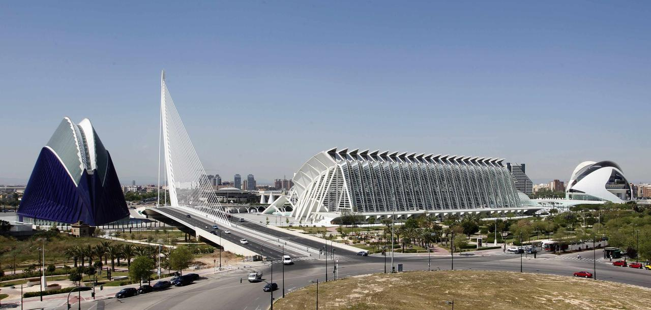 A panoramic view of the City of Arts and Sciences, by architect Santiago Calatrava, is seen in Valencia April 25, 2012. The complex's cost escalated from an initial 625 million euros to 1280 million euros, according to local media. REUTERS/Heino Kalis (SPAIN - Tags: CITYSPACE BUSINESS SOCIETY)