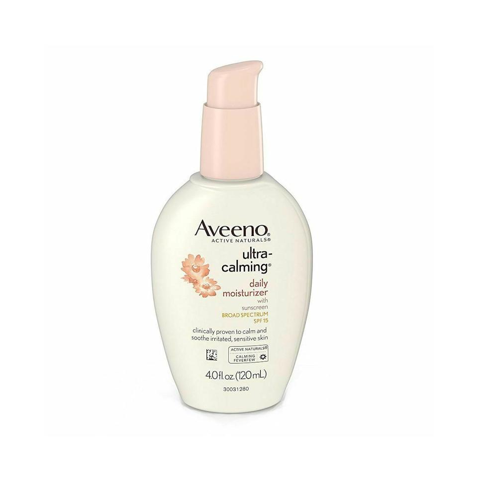 "<p>If your skin leans on the sensitive side, Dr. Nussbaum recommends avoiding moisturizers with ""irritants such as fragrances, dyes, lanolin, parabens and formaldehyde."" This drugstore staple checks off all the boxes. Aveeno's moisturizer is light, fast-absorbing, and is formulated with skin-calming botanicals. Bonus: It also serves as a second layer of SPF protection. </p>"