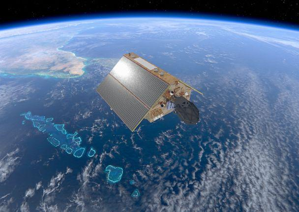 PHOTO: An illustration released by the Europeon Space Agency shows the Sentinel-6 satellite, dedicated to measuring sea levels as part of the European Unions Copernicus Earth Observation.  (Europeon Space Agency/AFP via Getty Images)