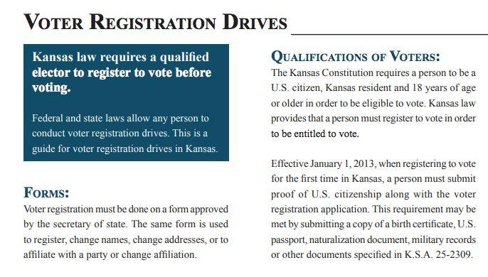 A Kansas Secretary of State guide for voter registration drives doesn't clarify that people using the federal form to register to vote don't need to prove they are a citizen. (Photo: Kansas Secretary of State's Office)
