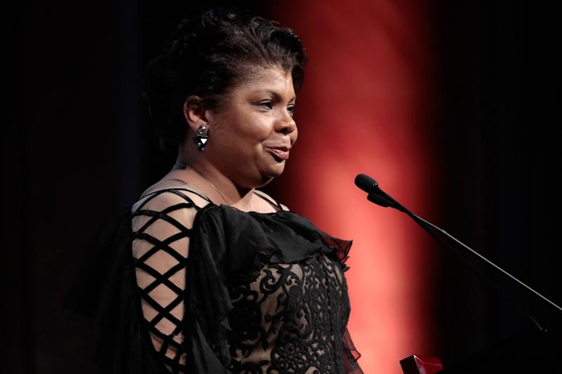 Journalist April Ryan accepts the WMC She Persisted Award onstage at the Women's Media Center 2017 Women's Media Awards: Cindy Ord/Getty Images for Women's Media Center