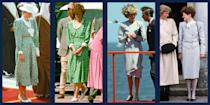 """<p>Like her daughter-in-law, the <a href=""""https://www.townandcountrymag.com/style/fashion-trends/g25620264/kate-middleton-repeat-outfits/"""" rel=""""nofollow noopener"""" target=""""_blank"""" data-ylk=""""slk:Duchess of Cambridge"""" class=""""link rapid-noclick-resp"""">Duchess of Cambridge</a>, Princess Diana was a fan of <a href=""""https://www.townandcountrymag.com/style/fashion-trends/g20871924/princess-diana-recycled-outfits/"""" rel=""""nofollow noopener"""" target=""""_blank"""" data-ylk=""""slk:recycling her favorite outfits"""" class=""""link rapid-noclick-resp"""">recycling her favorite outfits</a>. But did you know that the Princess of Wales let her friends and family borrow her clothes, too? (The royals, just like us!) While Di's most famous hand-me-down is the <a href=""""https://www.townandcountrymag.com/style/jewelry-and-watches/a13052347/kate-middleton-engagement-ring/"""" rel=""""nofollow noopener"""" target=""""_blank"""" data-ylk=""""slk:12-carat sapphire ring"""" class=""""link rapid-noclick-resp"""">12-carat sapphire ring</a> that Prince William gave to Kate Middleton in 2010 when they got engaged, the Princess of Wales's older sister <a href=""""https://www.townandcountrymag.com/society/tradition/a12138504/princess-diana-sisters-lady-sarah-mccorquodale-jane-fellowes/"""" rel=""""nofollow noopener"""" target=""""_blank"""" data-ylk=""""slk:Lady Sarah McCorquodale"""" class=""""link rapid-noclick-resp"""">Lady Sarah McCorquodale</a> and sister-in-law, <a href=""""https://www.townandcountrymag.com/society/tradition/a20691403/fergie-duchess-york-facts/"""" rel=""""nofollow noopener"""" target=""""_blank"""" data-ylk=""""slk:Sarah, Duchess of York"""" class=""""link rapid-noclick-resp"""">Sarah, Duchess of York</a>, were often seen re-wearing the princess's maternity dresses and skirt suits over the years. </p><p>See here the most stylish outfits Princess Diana shared, and perhaps you'll be able to finally convince your sister to let you raid her closet, too.</p>"""