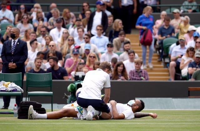 Nick Kyrgios receives a medical time out