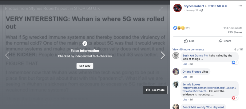 "This post claiming that 5G could be the reason for the outbreak has been taken down because ""the information are factually inaccurate"". (Stynes Robert/Facebook)"