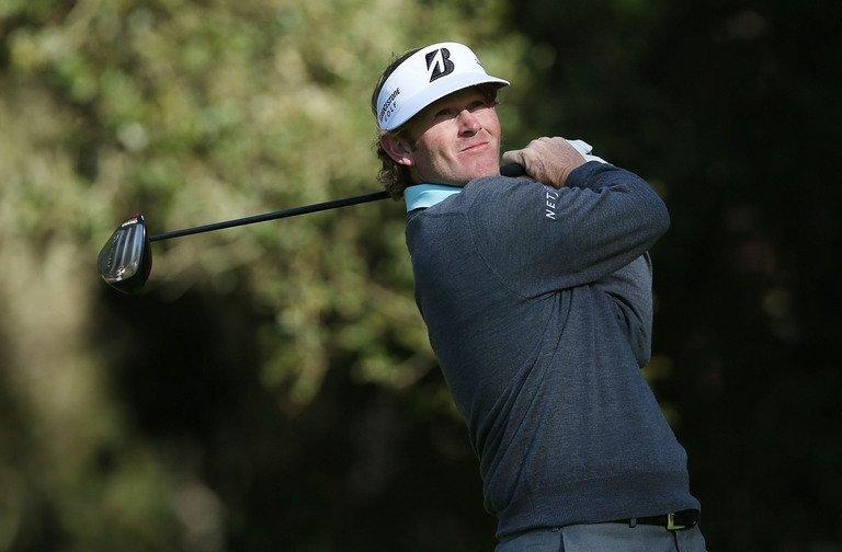 Brandt Snedeker hits a tee shot on the eighth hole during the second round of the AT&T Pebble Beach National Pro-Am on February 8, 2013. He held the joint lead with Ted Potter at the halfway stage of the $6.5 million US PGA event