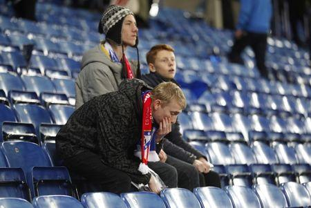 Britain Football Soccer - Leicester City v Atletico Madrid - UEFA Champions League Quarter Final Second Leg - King Power Stadium, Leicester, England - 18/4/17 Leicester fans look dejected after the match  Action Images via Reuters / Carl Recine Livepic