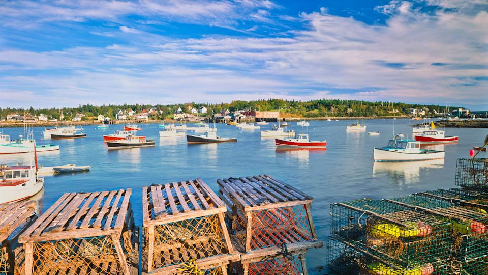 Bass Harbor in Maine with fishing boats