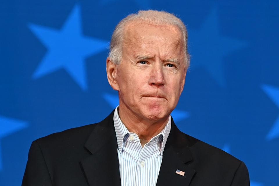 Democratic Presidential candidate Joe Biden looks on while speaking at the Queen venue in Wilmington, Delaware.