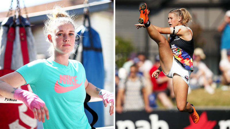 Taylor Harris is a boxer an AFLW star. (Getty Images)