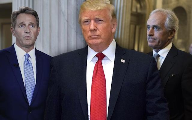 Sen. Jeff Flake; President Trump; Sen. Bob Corker. (Photo illustration: Yahoo News; photos: Manuel Balce Ceneta/AP, Chip Somodevilla/Getty Images, Tom Williams/CQ Roll Call/Getty Images)