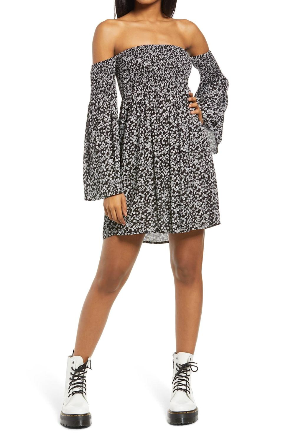 <p>You'll feel light and easygoing in this playful <span>Lulus Smocked Off the Shoulder Minidress</span> ($55).</p>