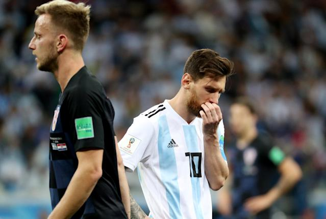 Soccer Football - World Cup - Group D - Argentina vs Croatia - Nizhny Novgorod Stadium, Nizhny Novgorod, Russia - June 21, 2018 Argentina's Lionel Messi looks dejected after Croatia's Ante Rebic scores their first goal REUTERS/Lucy Nicholson