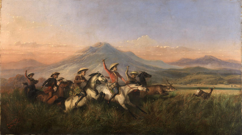 Raden Saleh. Six Horsemen Chasing Deer. 1860. Oil on canvas mounted on fiberboard. 106 x 188 cm. Gift of Mrs Sally Burbank Swart. Collection of Smithsonian American Art Museum.