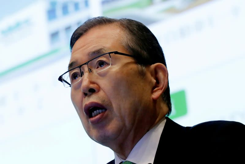 FILE PHOTO: Nidec Corp' s CEO Shigenobu Nagamori speaks at an earnings results news conference in Tokyo