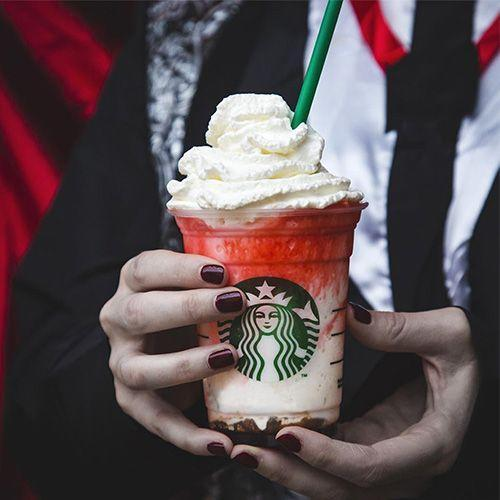 <p>This Dracula-inspired Frappuccino is a mixture of white chocolate sauce, milk, and ice, then layered with mocha sauce. It's topped with raspberry syrup and whipped cream for an eerie drink to sip on around Halloween.</p>