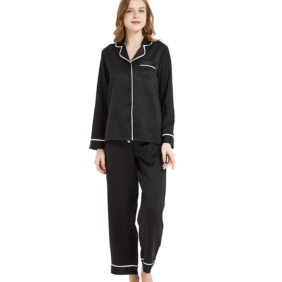 <p>This classic <span>New Dance Silky Pajama Set</span> ($20) will never go out of style, thanks to its minimal look and versatile color palette. The fabric looks breathable, so you won't feel too hot or warm while you get some much needed shut-eye. </p>