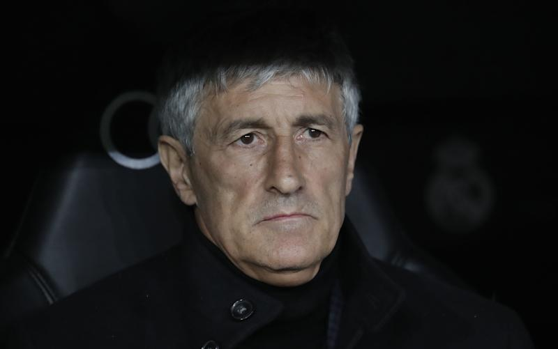 MADRID, SPAIN - MARCH 1: Head coach Quique Setien of Barcelona looks on during the Spanish League football match between Real Madrid and Barcelona at the Santiago Bernabeu stadium in Madrid on March 1, 2020. (Photo by Burak Akbulut/Anadolu Agency via Getty Images)