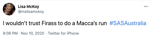 One user joked they wouldn't even trust Firass on a Maccas run. Photo: Twitter