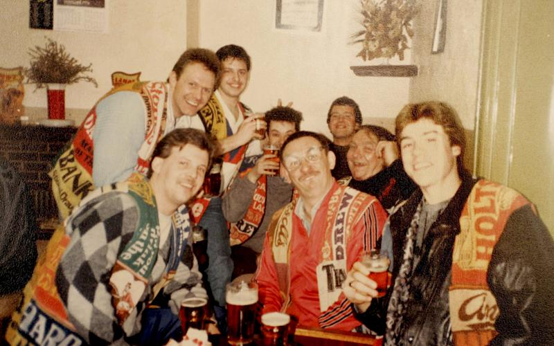 The group pictured in the Railway Train pub in Kidderminster, West Midlands, in 1988. - Credit: SWNS/SWNS